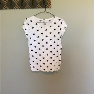 Black and white heart t shirt